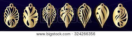 Laser Cut Pendants Or Earrings Templates. Vector Set. Jewelry Or Bijouterie Design, Pattern For Cutt