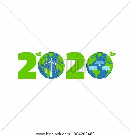 Happy New Year 2020 Logo Design, With Two Planet, Solar Panels, Windmills. Eco Energy. Vector Illust