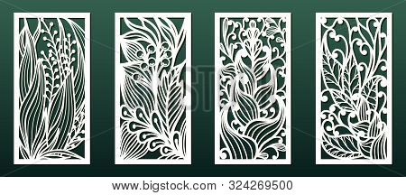 Laser Cutting Templates With Floral Pattern. Wood Or Metal  Cut, Stencil For Fretwork Or Carving, Pa