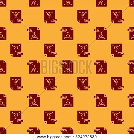 Red Obj File Document. Download Obj Button Icon Isolated Seamless Pattern On Brown Background. Obj F