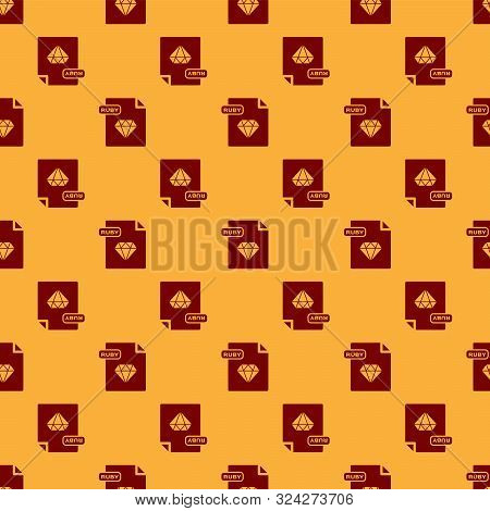 Red Ruby File Document. Download Ruby Button Icon Isolated Seamless Pattern On Brown Background. Rub