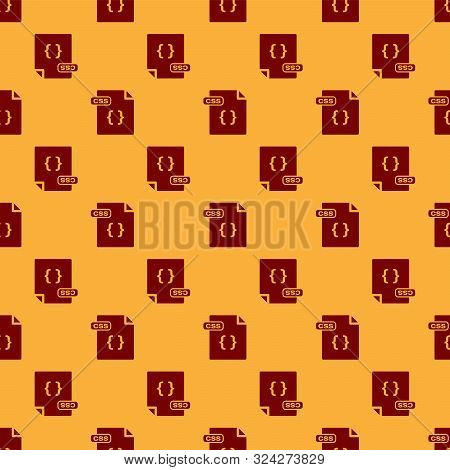 Red Css File Document. Download Css Button Icon Isolated Seamless Pattern On Brown Background. Css F