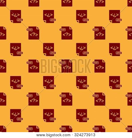 Red Php File Document. Download Php Button Icon Isolated Seamless Pattern On Brown Background. Php F