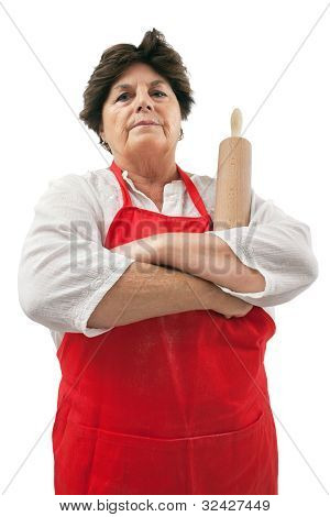 Disappointed Grandmother With Rolling Pin