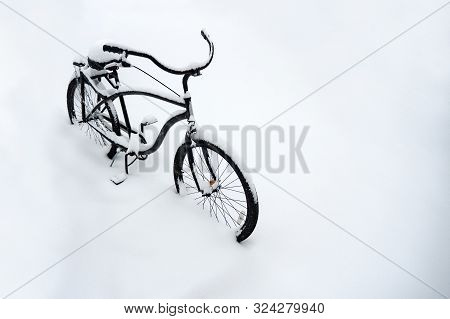 Bad Weather Conditions. Bad Visibility On The Road. Winter Travel. Traveling By Bike. Bicycle In The