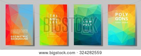Facet Low Poly Multicolor Banners, Posters, Flyers Vector Graphic Design Set. Diamond Texture Low Po