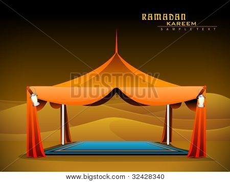 Vector illustration of Ramadan Majlis tent with carpet and lantern on sand domes background. EPS 10. Vector Illustration.