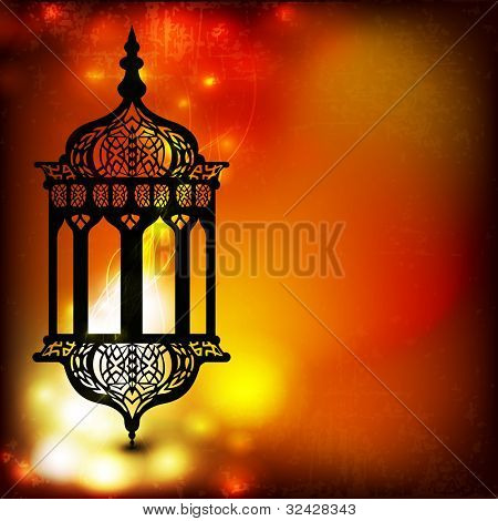 Intricate arabic lamp with lights on the wave and grungy background for Ramadan Kareem and other events. EPS 10.