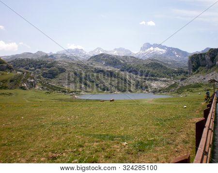 Wonderful Enol Lakes And Ercina Lake In Covadonga. July 5, 2010. Asturias, Spain, Europe. Travel Tou