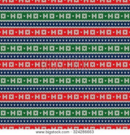 Ho-ho-ho Christmas Holiday Knitted Seamless Pattern. Wool Knit Texture Imitation. Ugly Sweater Chris