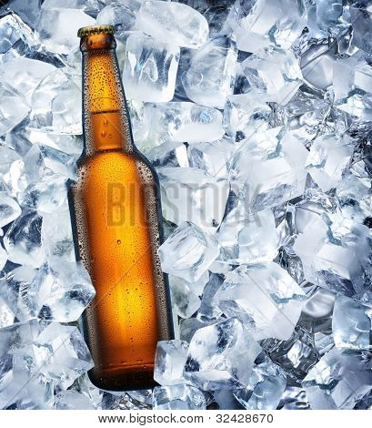 Bottle of beer is in ice