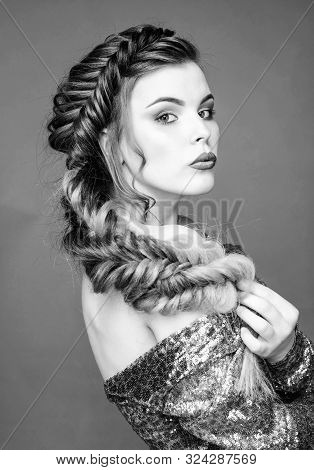 Braided Hairstyle. Beautiful Young Woman With Modern Hairstyle. Beauty Salon Hairdresser Art. Girl M