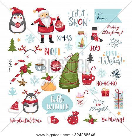 Set Of Christmas Elements. Snowflakes, Santa Claus, Christmas Tree, Gifts, Calligraphy, Lettering, A