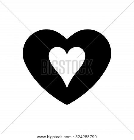 Black Heart Hearts Suit Icon. A Symbol Of Love. Valentine S Day With Sign Playing Card Suits. Flat S