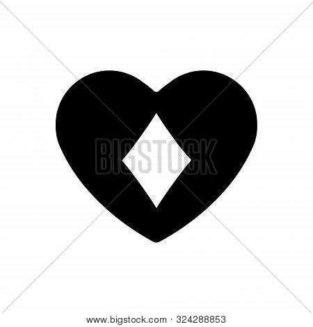 Black Heart Diamonds Suit Icon. A Symbol Of Love. Valentine S Day With Sign Playing Card Suits. Flat