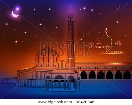 Arabic Islamic calligraphy of Ramada Kareem text with Mosque or Masjid on night abstract background in blue color. EPS 10. Vector Illustration.