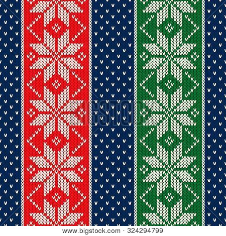 Winter Holiday Seamless Knitted Pattern With Snowflakes. Traditional Christmas And New Year Design B