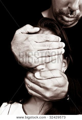Child abuse and harassment by an unknown adult man who covers her eyes and mouth