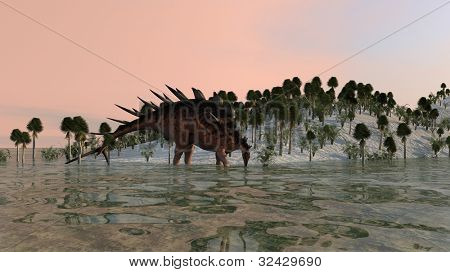 kentrosaurus near water