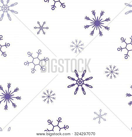 Violet Snowflake Seamless Pattern For Any Design, Print. Merry Christmas Vector Illustration