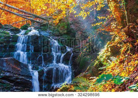 Beautiful Autumn Scenery Near The Waterfall Shypot. Popular Destination Of Ukrainian Carpathians. Tr