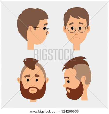Heads Two Apples In Full Face And In Profile. Vector Illustration