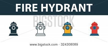 Fire Hydrant Icon Set. Premium Symbol In Different Styles From Fire Safety Icons Collection. Creativ