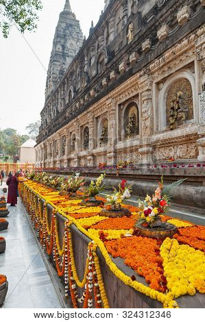 Garlands With Flowers And Festive Bouquets At Mahabodhi Temple, In Commemoration Of Day Of An Enligh