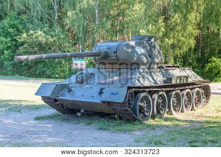Zdbice, Poland - June 9, 2019: T-34/85 At Combat Museum Of The First Army Of The Polish Army In Zdbi