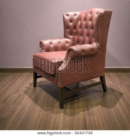 Side Of Classic Chesterfield Luxury Brown Leather Armchair