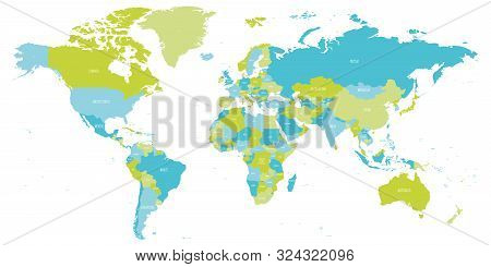 Map Of World In Shades Of Green And Blue. High Detail Political Map With Country Names. Vector Illus