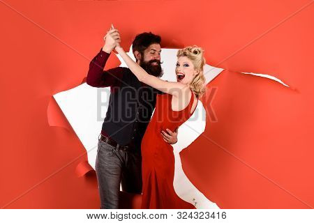 Happy Couple Enjoying Dance. Stylish Couple Dancing. Romantic Couple Dance Together At Dance Hall. P