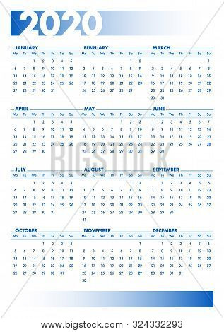 Blue 2020 English Calendar. Vectorial Illustration With Blank Space For Your Contents. All Elements