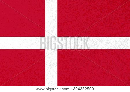 Red Danish Flag With White Cross. Denmark Flag With Cool Grunge Texture. Vector Flag Of Denmark In O