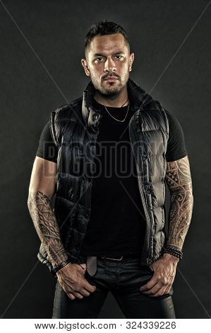 Tattoo Brutal Attribute. Man Confident Unshaven Brutal Appearance Tattooed Arms. Tattoos Great Way E