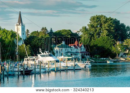 Mackinac Island Mi /usa - July 9th 2016: The Marina A Mackinac Island