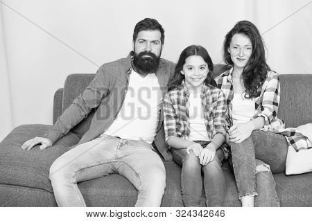 We Are Family. Family Spend Weekend Together. Friendly Family Sit Couch Posing For Photo Album. Mom