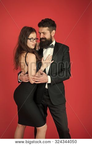 Tuxedo And Dress. Formal Couple. Art Experts Of Bearded Man And Woman. Esthete. Romantic Relationshi