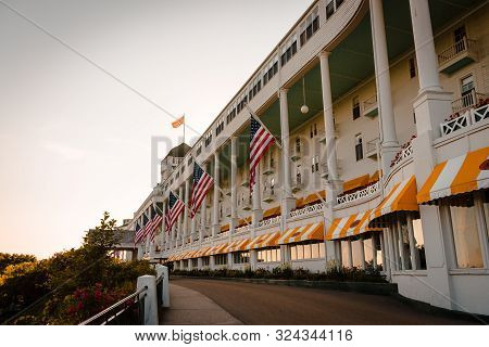 Mackinac Island Mi /usa - July 9th 2016: View Of The Grand Hotel On Mackinac Island