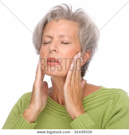 Full isolated portrait of a senior woman with toothache