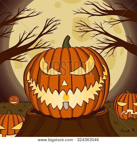 Jack O Lantern Vector Illustration With Moon Light For Halloween Banner Also Can Use For Media Socia