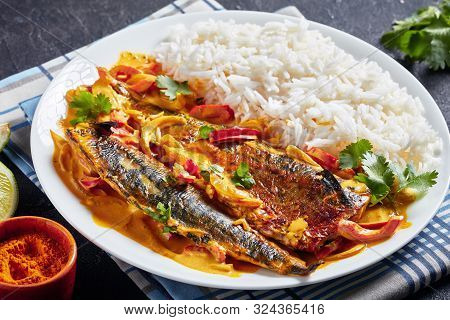 Grilled Saba Yellow Curry, Panang Curry With Mackerel Fish Served With Steamed Long Grain Rice On A