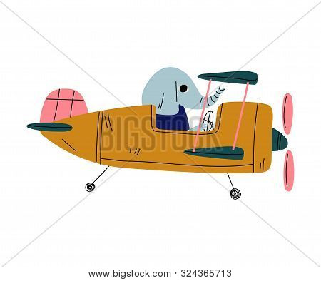 Elephant Pilot Flying On Retro Plane In The Sky, Cute Animal Character Piloting Airplane Vector Illu