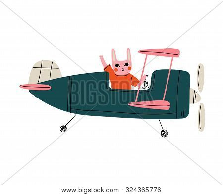 Bunny Pilot Flying On Retro Plane In The Sky, Cute Animal Character Piloting Airplane Vector Illustr