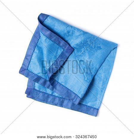 Single Folded Blue Linen Napkin