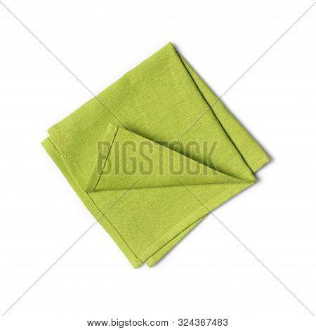 Single Folded Green Linen Napkin