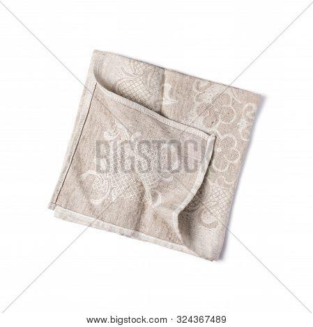 Single Folded Beige Linen Napkin