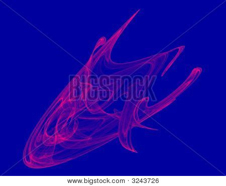 Dynamic Vivid Red Abstract Object, Blue Background