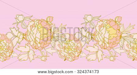 Vector Pink Romantic Elegant Festive Peony Botanical Border, Vintage Peony Blossom In Pastel Tones.