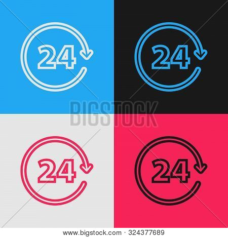 Color line Clock 24 hours icon isolated on color background. All day cyclic icon. 24 hours service symbol. Vintage style drawing. Vector Illustration poster